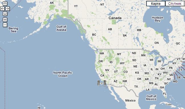 местоположение спутников