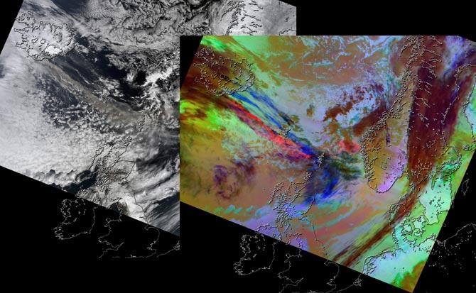 Вулкан Эйяфьятлайокудль из космоса