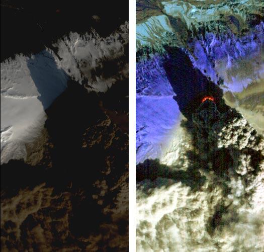 Вулкан Эйяфьятлайокудль вид со спутника