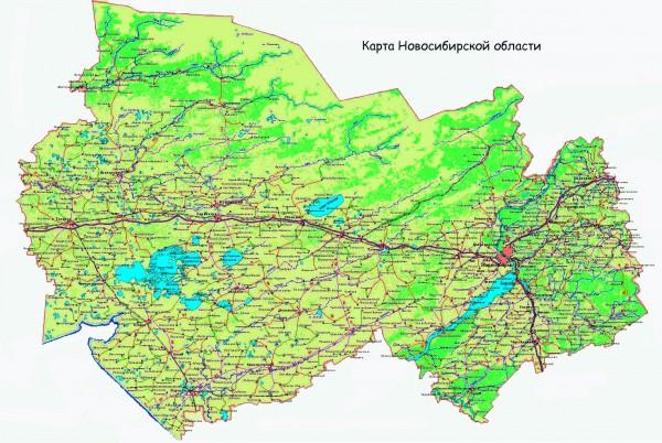 Карта Новосибирской области подробная
