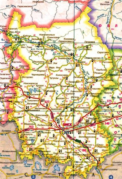 Карта Омской области подробная