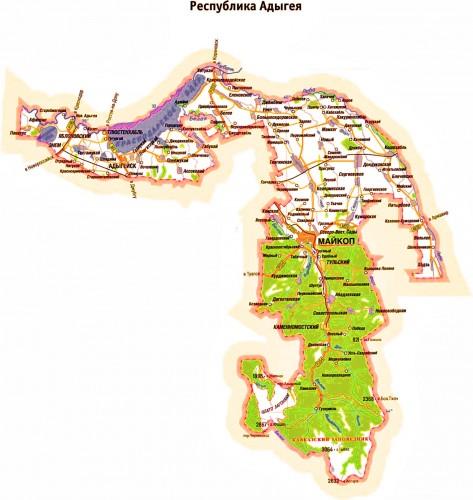 Карта Адыгеи подробная