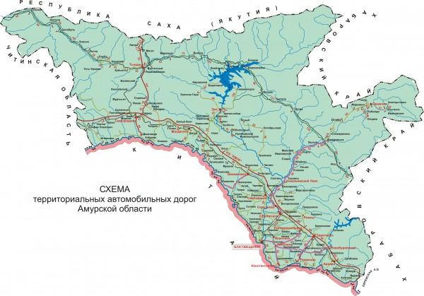 Карта Амурской области подробная