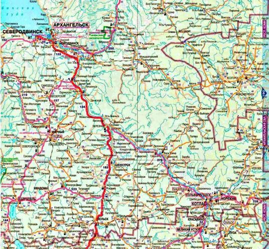Карта Архангельской области подробная