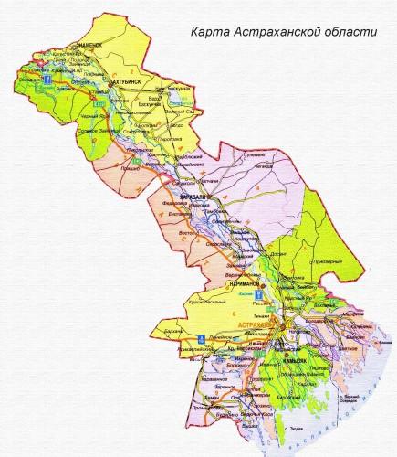 Карта Астраханской области подробная