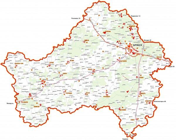 Карта Брянской области подробная