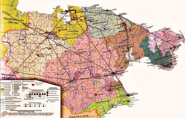 Карта Чукотского автономного округа подробная