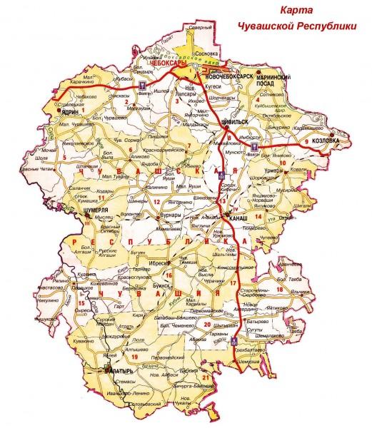 Карта Чувашии подробная