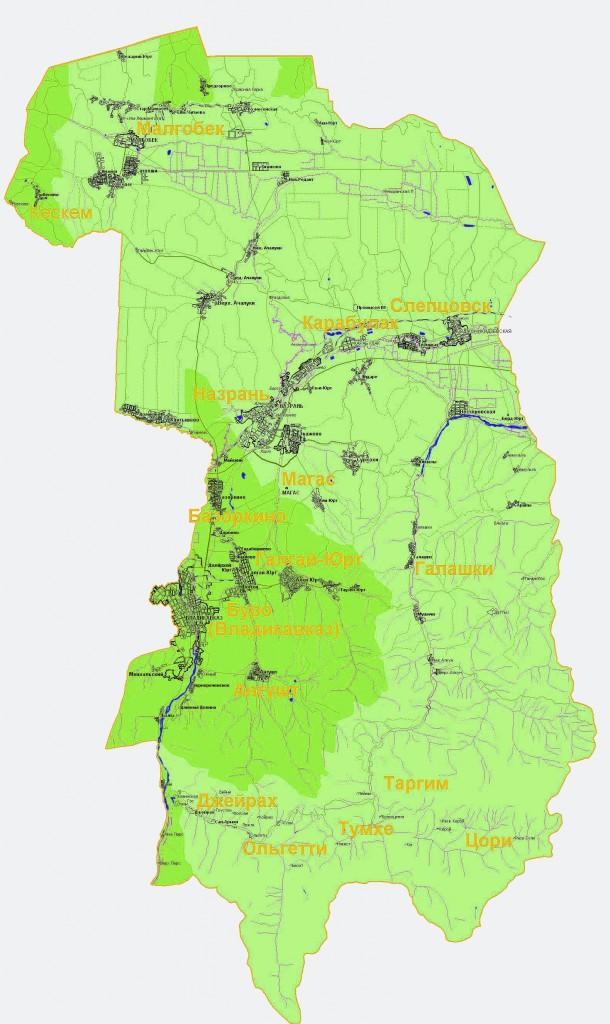 Карта Ингушетии подробная