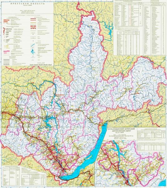 Карта Иркутской области подробная