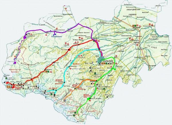Карта Кабардино-Балкарии подробная