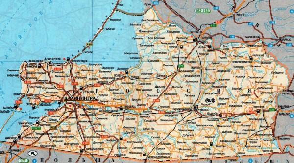 Карта Калининградской области подробная