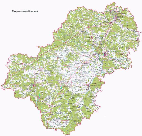 Карта Калужской области подробная
