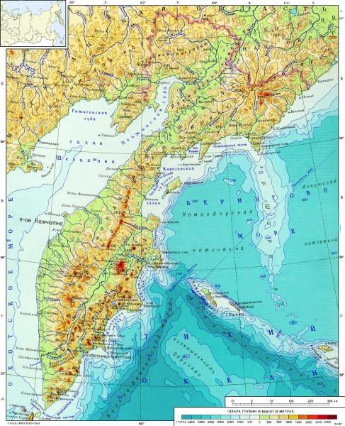 Карта Камчатского края подробная