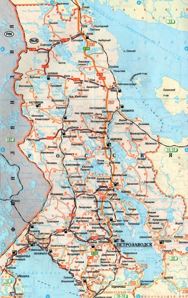 Карта Карелии подробная