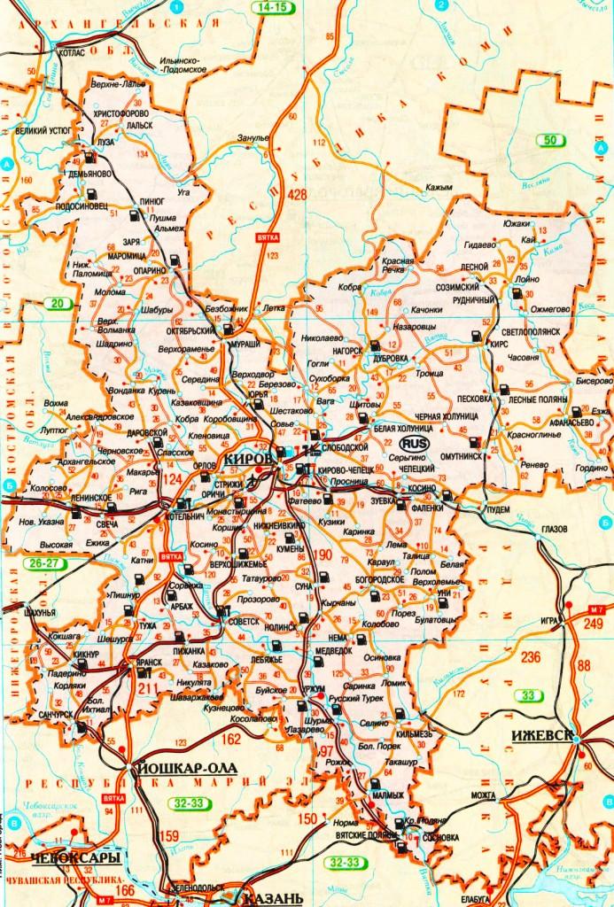 Карта Кировской области подробная