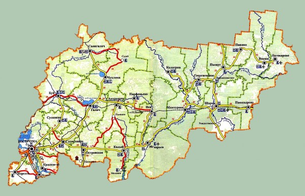 Карта Костромской области подробная