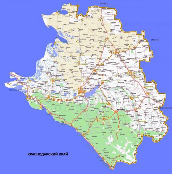 Карта Краснодарского края подробная