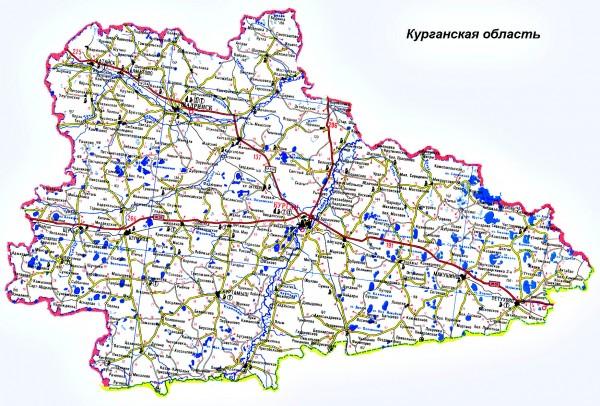 Карта Курганской области подробная