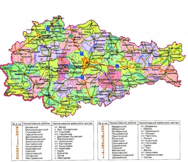 Карта Курской области подробная