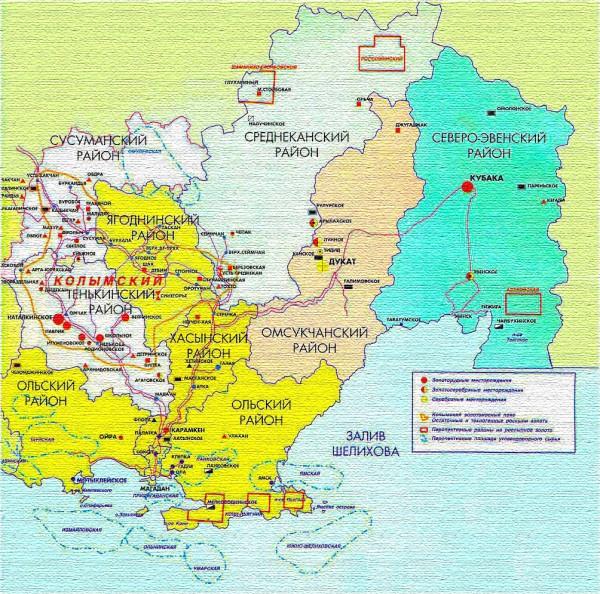 Карта Магаданской области подробная