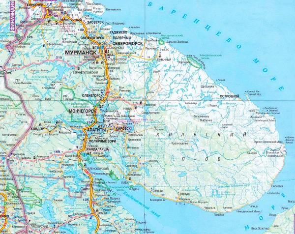 Карта Мурманской области подробная