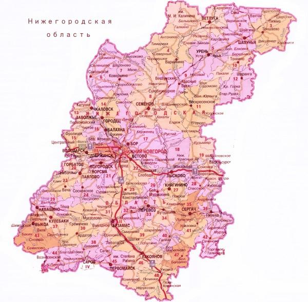 Карта Нижегородской области подробная