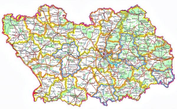 Карта Пензенской области подробная