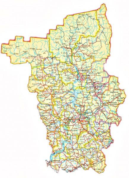 Карта Пермского края подробная