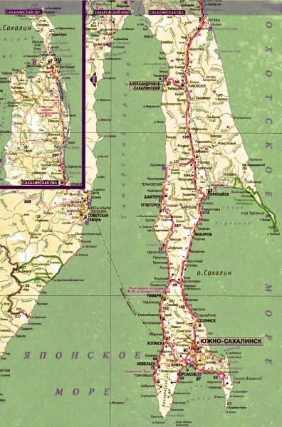 Карта Сахалинской области подробная