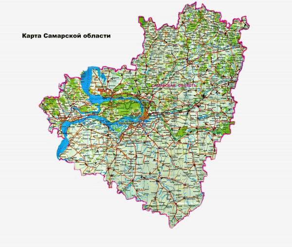 Карта Самарской области подробная