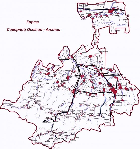 Карта Северной Осетии подробная
