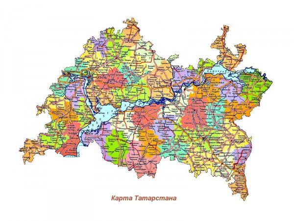 Карта Татарстана подробная