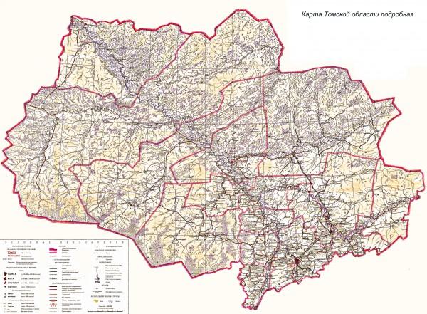 Карта Томской области подробная