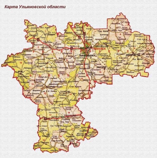 Карта Ульяновской области подробная
