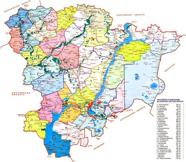 Карта Волгоградской области подробная