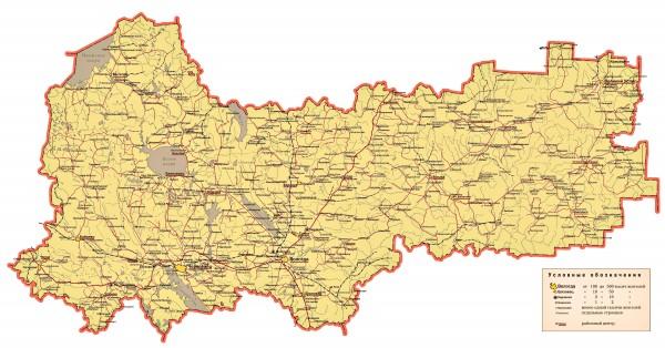 Карта Вологодской области подробная
