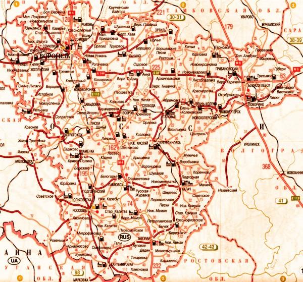 Карта Воронежской области подробная