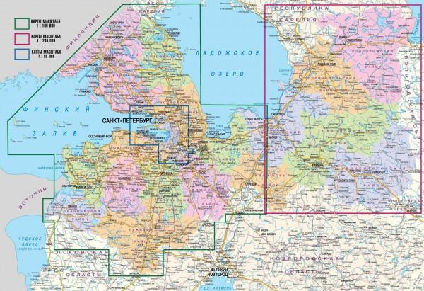 Карта Ленинградской области подробная