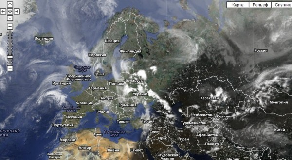 Карта облачности в реальном времени